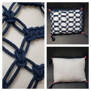 Other - Blue Macrame Throw Pillow Accent Pillow White Red